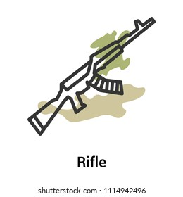 Rifle icon vector isolated on white background for your web and mobile app design, Rifle logo concept, outline symbol, linear sign