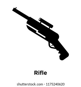 Rifle icon vector isolated on white background, logo concept of Rifle sign on transparent background, filled black symbol