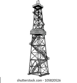 Rig for exploration and drilling wells for oil production. Vector illustration.