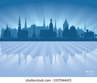 Riga Latvia city skyline vector silhouette illustration