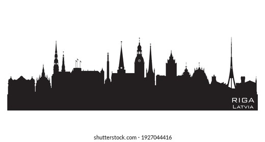 Riga Latvia skyline Detailed vector silhouette