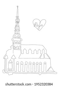 Riga line art illustration. Old town symbol. Church building