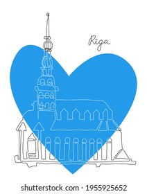 Riga line art illustration. Old town symbol. Church building. Riga flag color