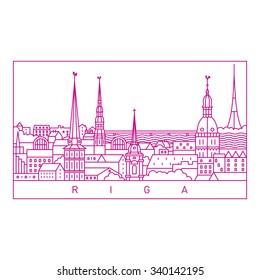 Riga line art landscape