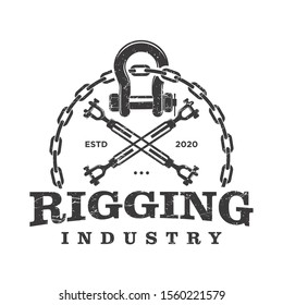 Rigger rigging industrial chain crane engineering tool equipment steel logo design vintage rustic classic old style