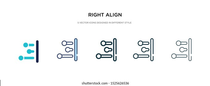 right align icon in different style vector illustration. two colored and black right align vector icons designed in filled, outline, line and stroke style can be used for web, mobile, ui