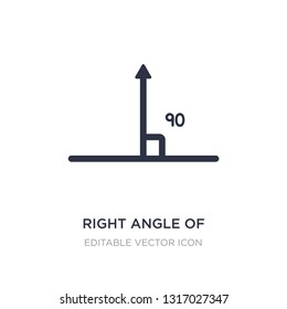 right angle of 90 degrees icon on white background. Simple element illustration from Shapes concept. right angle of 90 degrees icon symbol design.