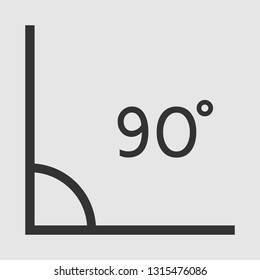 right angle. 90 degrees. vector icon