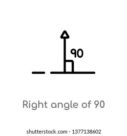 right angle of 90 degrees vector line icon. Simple element illustration. right angle of 90 degrees outline icon from shapes concept. Can be used for web and mobile