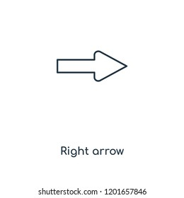 Right arrow concept line icon. Linear Right arrow concept outline symbol design. This simple element illustration can be used for web and mobile UI/UX.