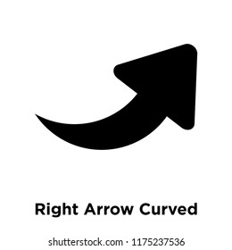 Right Arrow Curved icon vector isolated on white background, logo concept of Right Arrow Curved sign on transparent background, filled black symbol
