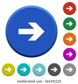 Right arrow round color beveled buttons with smooth surfaces and flat white icons