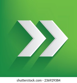 Right arrow symbol on green background,clean vector