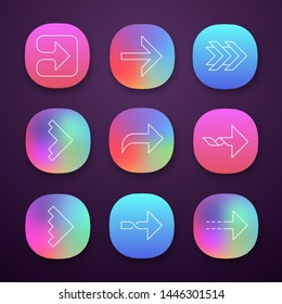 Right arrows app icons set. Forward, curved, dotted, twisted next, forward arrows. Arrowhead indicating rightward. UI/UX user interface. Web or mobile applications. Vector isolated illustrations