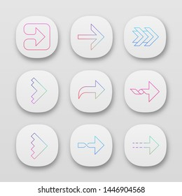 Right arrows app icons set. Forward, curved next, forward. Marker, indicator. Arrowhead indicating rightward. UI/UX user interface. Web or mobile applications. Vector isolated illustrations