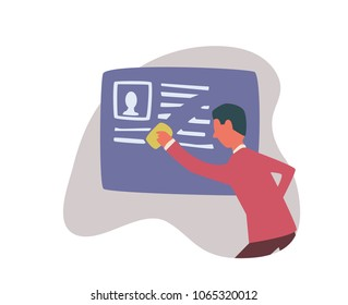 Right to be forgotten in the internet. A man erases information about himself. Concept vector illustration, isolated on white background.