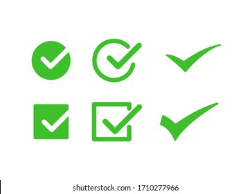 Right, Correct, check-in Green Icon Sign Vector Template Set EPS 10