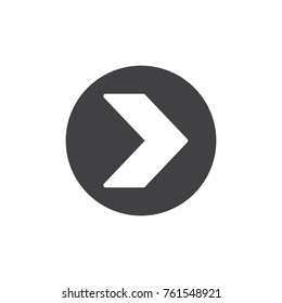 Right direction arrow icon vector, filled flat sign, solid pictogram isolated on white. Symbol, logo illustration.
