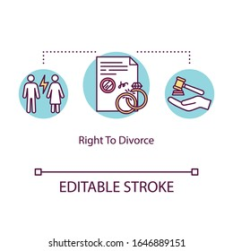 Right to divorce concept icon. Marriage annulment, family law, male and female rights, divorcement procedure thin line illustration. Vector isolated outline RGB color drawing. Editable stroke