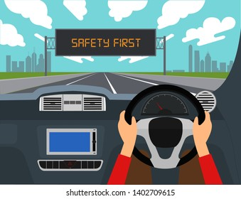 Right hand drive car vector illustration.