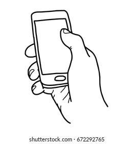 right hand holding small mobile phone with blank space - vector illustration sketch hand drawn with black lines, isolated on white background