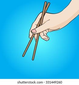 Right Hand using Chopsticks Vector Hand Drawn