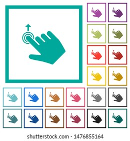 Right handed slide up gesture flat color icons with quadrant frames on white background