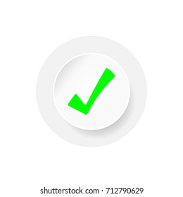 Right icon isolated on white background. Green tick mark in circles. EPS10 vector illustration for design element, web, banner, template, poster, app, sign, symbol, infographic.