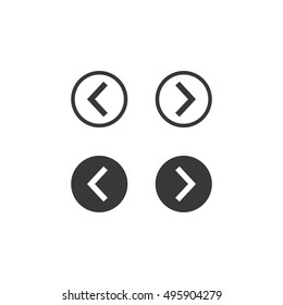 Right left web flat simple arrows for web-design. Spin arrows push and normal. Next and previos action circle arrow button. Vector illustration. EPS 10