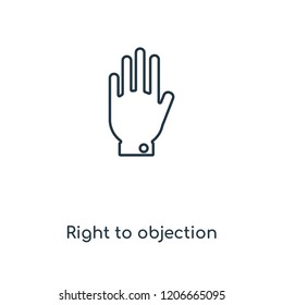 Right to objection concept line icon. Linear Right to objection concept outline symbol design. This simple element illustration can be used for web and mobile UI/UX.