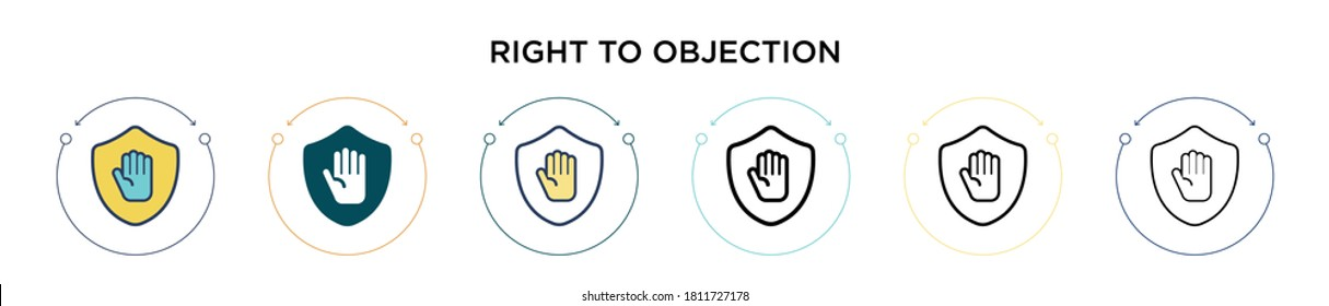 Right to objection icon in filled, thin line, outline and stroke style. Vector illustration of two colored and black right to objection vector icons designs can be used for mobile, ui, web
