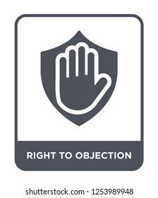right to objection icon vector on white background, right to objection trendy filled icons from Gdpr collection, right to objection simple element illustration