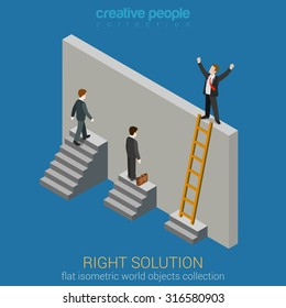 Right Solution to solve problem business concept flat 3d web isometric infographics vector. Creative people collection.