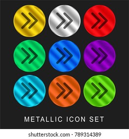 Right thin arrowheads 9 color metallic chromium icon or logo set including gold and silver