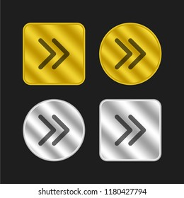 Right thin arrowheads gold and silver metallic coin logo icon design