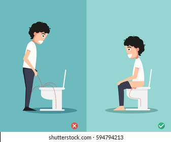 The right way to pee illustration,vector