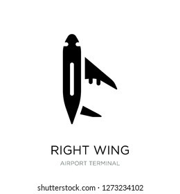 right wing icon vector on white background, right wing trendy filled icons from Airport terminal collection, right wing simple element illustration