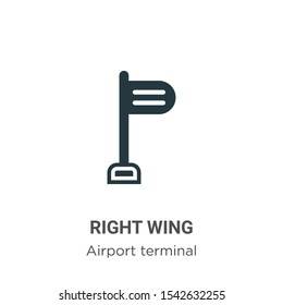 Right wing vector icon on white background. Flat vector right wing icon symbol sign from modern airport terminal collection for mobile concept and web apps design.