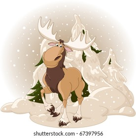 Right winter design with moose against a snowy forest background