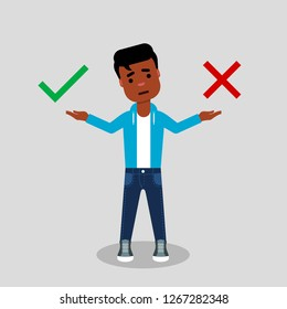 Right or wrong choice. Young African American in jeans and sweatshirt, making decision between right and wrong. Making choice, difficult decision, true or false, ethical dilemma, concept. Vector
