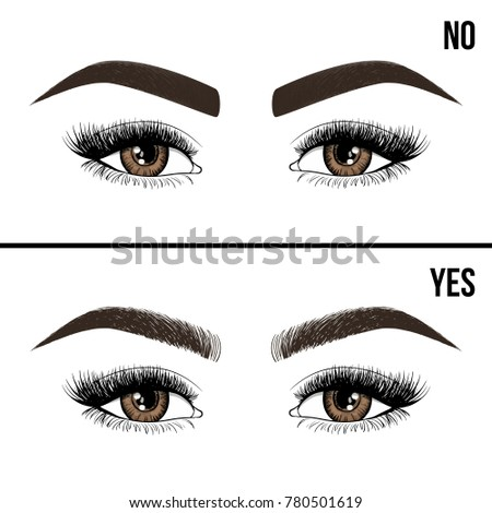 right wrong eyebrow coloring eyebrows shapes のベクター画像素材