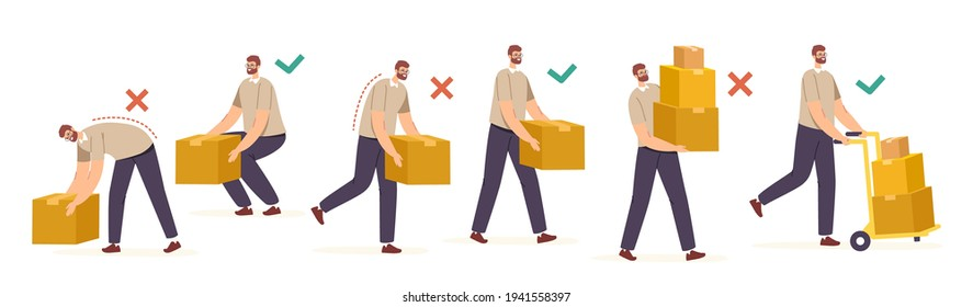 Right and Wrong Manual Handling and Lifting of Heavy Goods. Male Characters Carry Carton Boxes Correctly and Improperly Way in Hands and on Forklift, Back Health. Cartoon People Vector Illustration