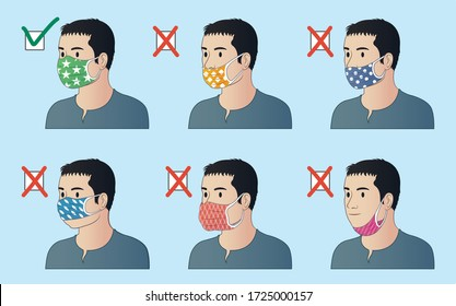 The right and wrong way to wear a mask. How to properly use a face mask. Male character use mask properly. Common mistakes wearing face mask.