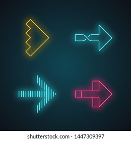 Rightward arrows neon light icons set. Twisted, notched, striped next forward. Navigation pointer sign. Motion signpost, indicator. Pointing symbol. Glowing signs. Vector isolated illustrations