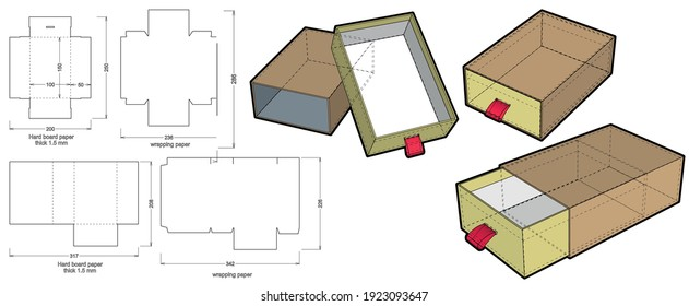 Rigid Box Drawer hard board paper thicknes 1.5mm (Internal measurement 10x15x5cm) and Die-cut Pattern. The .eps file is full scale and fully functional. Prepared for real cardboard production.