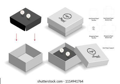 rigid box for earring mockup with dieline