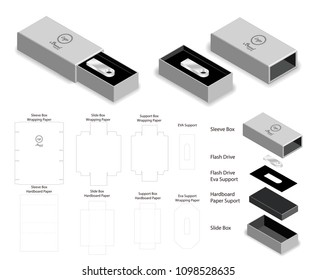 rigid box for flash drive packaging die-cut mockup