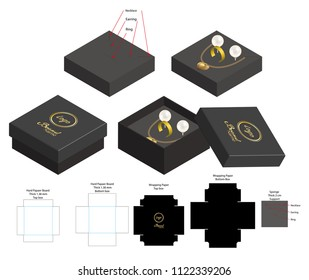 rigid box for necklace ring earring product mockup