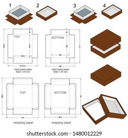 Rigid Box top and bottom hard board paper thicknes 1.75mm (Internal measurement 28.5x 23+ 6.6 cm) and Die-cut Pattern