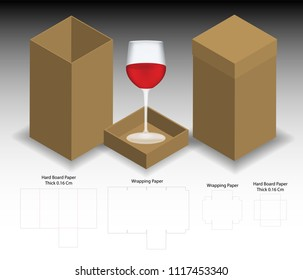 rigid box for wine glass mockup with dieline